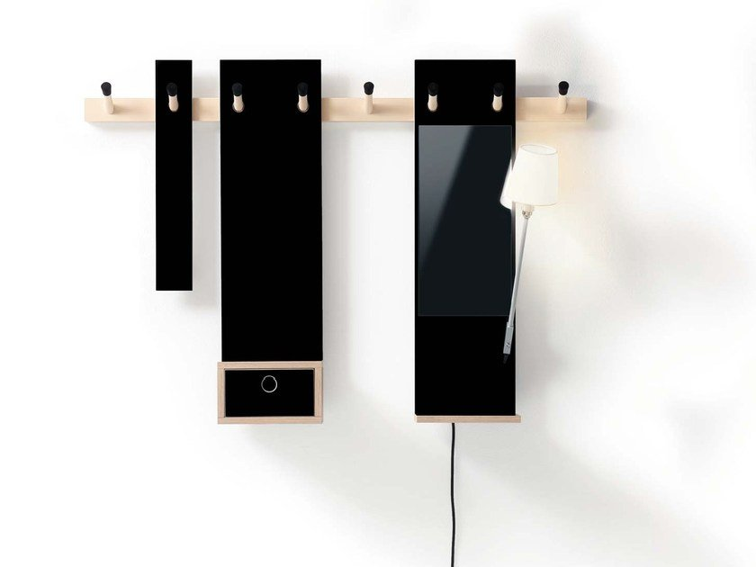 Wall-mounted wooden coat rack RECHENBEISPIEL by Nils Holger Moormann