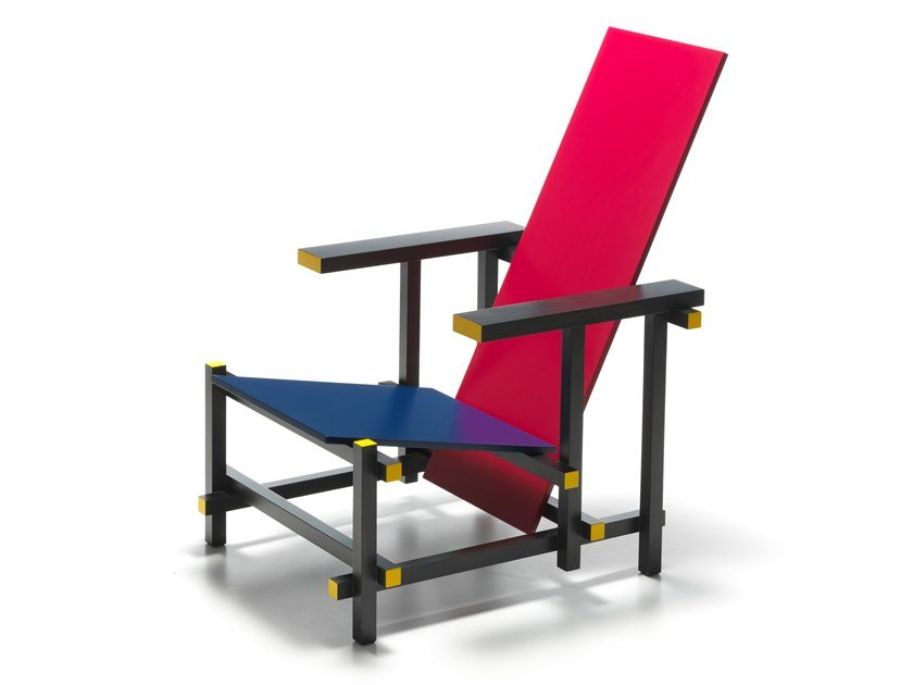 Wooden easy chair 635 RED AND BLUE by Cassina