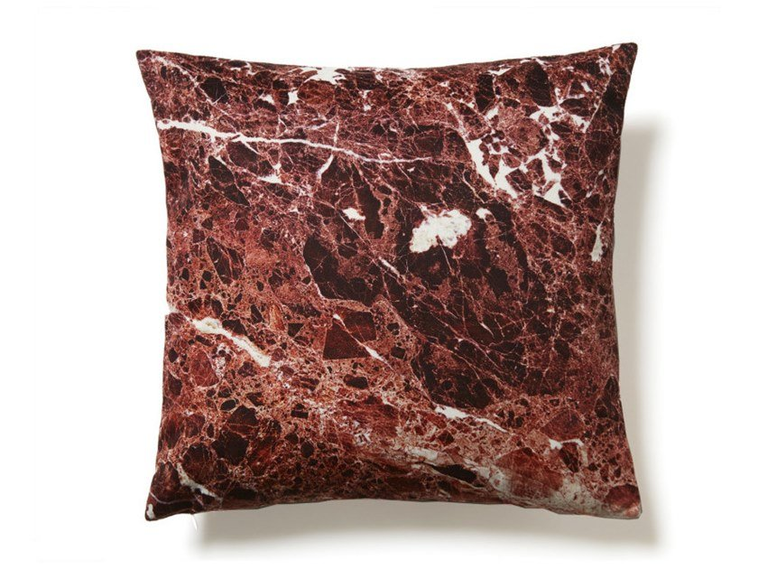 Square polyester cushion RED EMPERADOR | Cushion by Koziel
