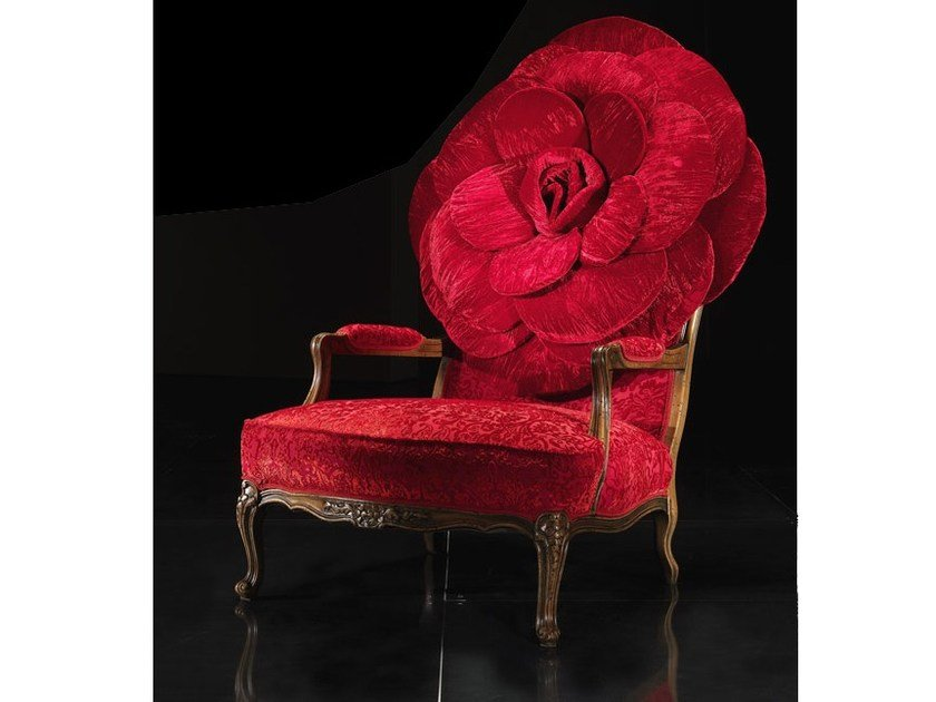 Upholstered velvet armchair with armrests RED ROSE by Mirabili
