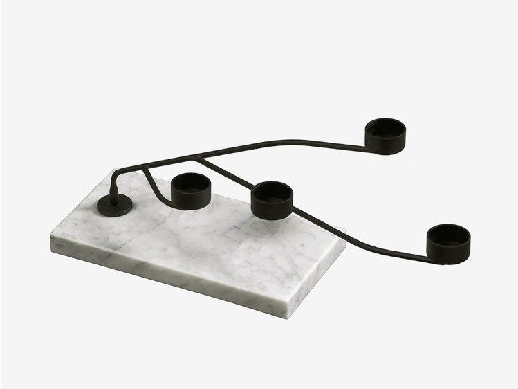 Carrara marble candlestick REEF by RADAR INTERIOR