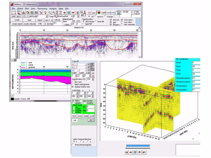 GPR and seismic processing software REFLEX 2D-3D By NOVATEST