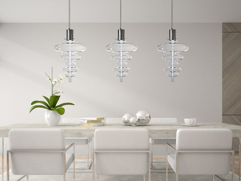 Contemporary style direct light glass pendant lamp REFLEXX H1 XXL by ILFARI