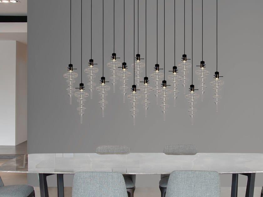 Contemporary style LED direct light glass pendant lamp REFLEXX H16 L by ILFARI