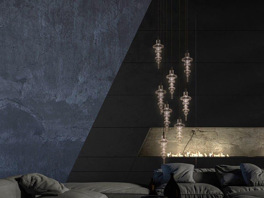 LED direct light glass pendant lamp REFLEXX H8 by ILFARI