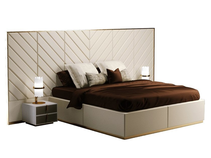 Fabric double bed with high headboard REGENCY by Paolo Castelli