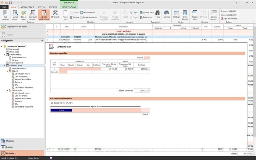 REGOLO quadro sintetico situazione contabile