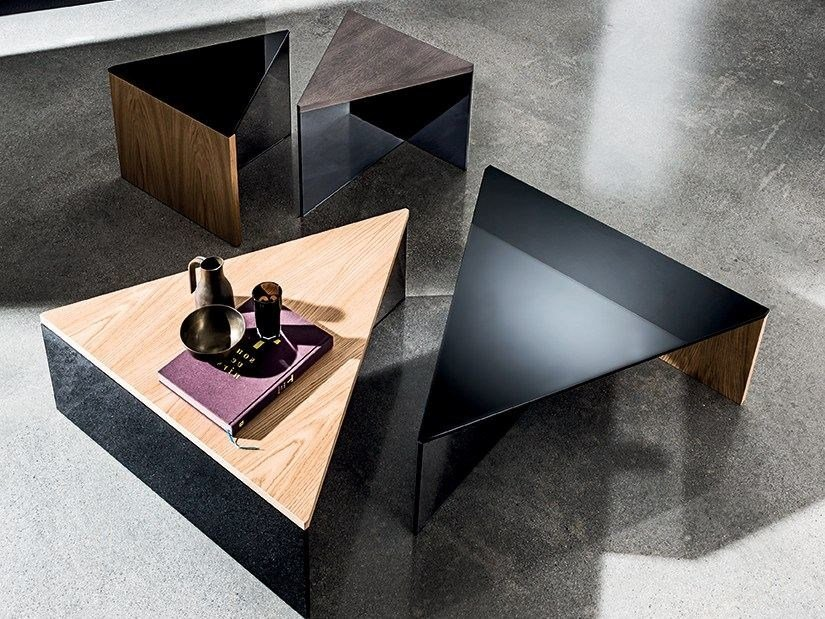 Triangular wood and glass coffee table REGOLO TRIANGULAR by Sovet italia