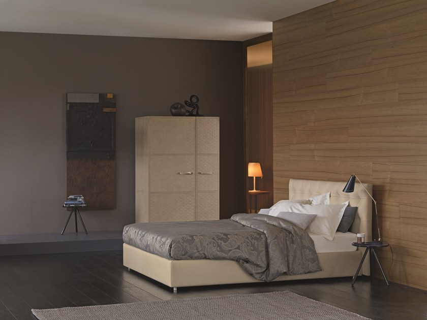 Double bed with upholstered headboard RELAIS by Flou