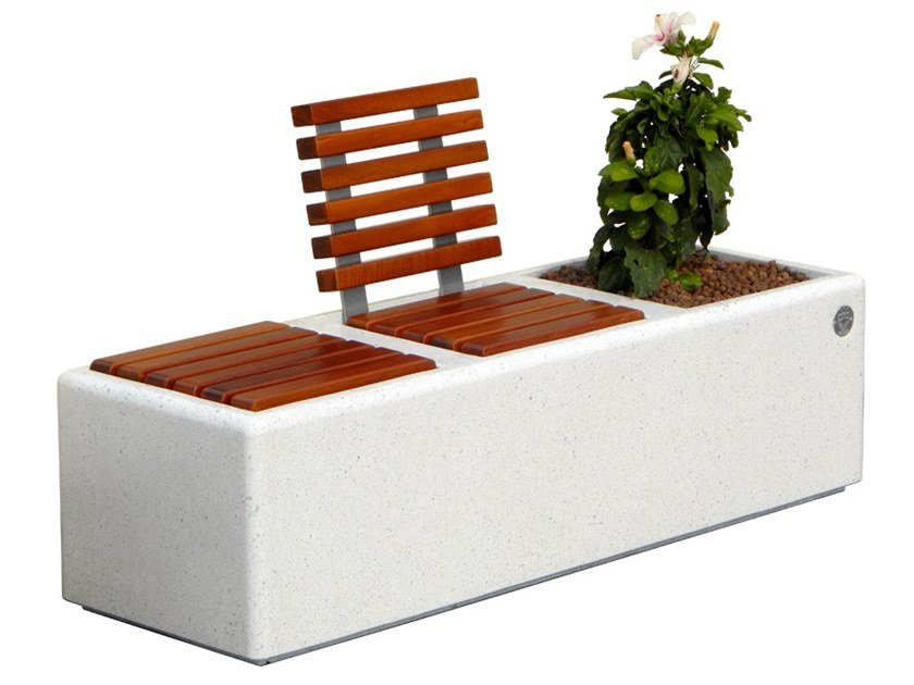 Marble grit Bench with Integrated Planter RELAX ISLAND by DIMCAR