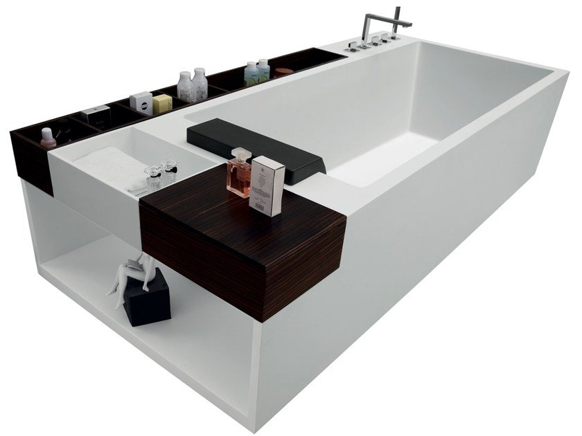 Rectangular Corian® bathtub RELAX by Swiss Concepts