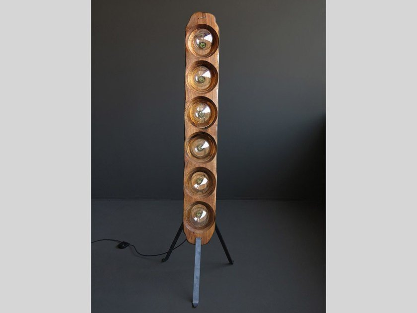 Handmade wooden floor lamp RELIFE by HOOKL und STOOL