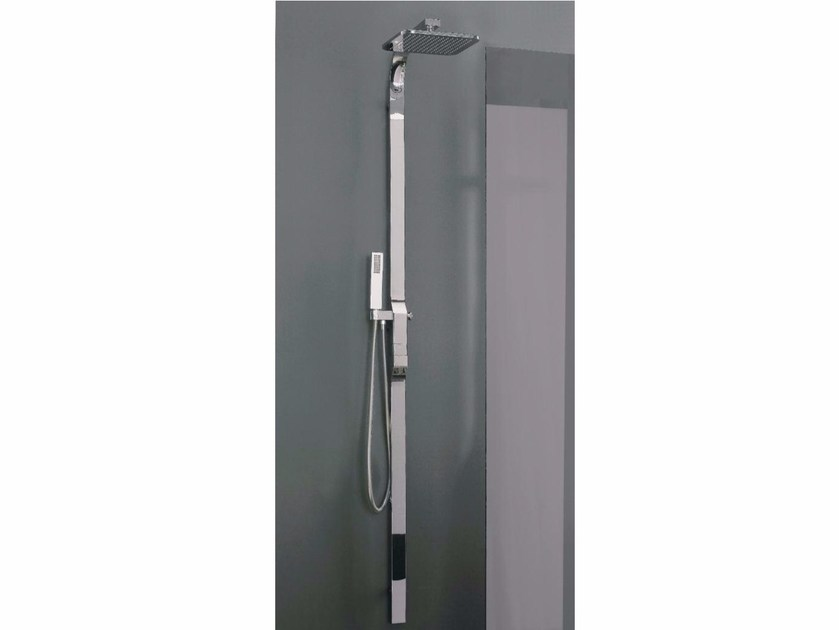 Wall-mounted shower panel with hand shower with overhead shower REM | Thermostatic shower panel by ZAZZERI