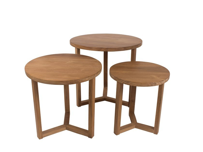 Round wooden garden side table REMIX | Round coffee table by Il Giardino di Legno
