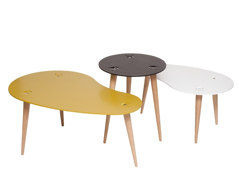 Steel and wood side table RENES | Coffee table by designimdorf