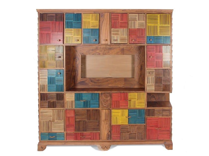 Solid wood TV cabinet / storage wall RENKLI by ALANKARAM