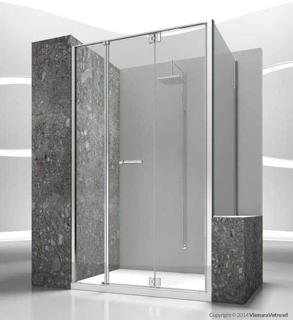 Tempered glass shower cabin with folding door REPLAY RM+RV by VISMARAVETRO