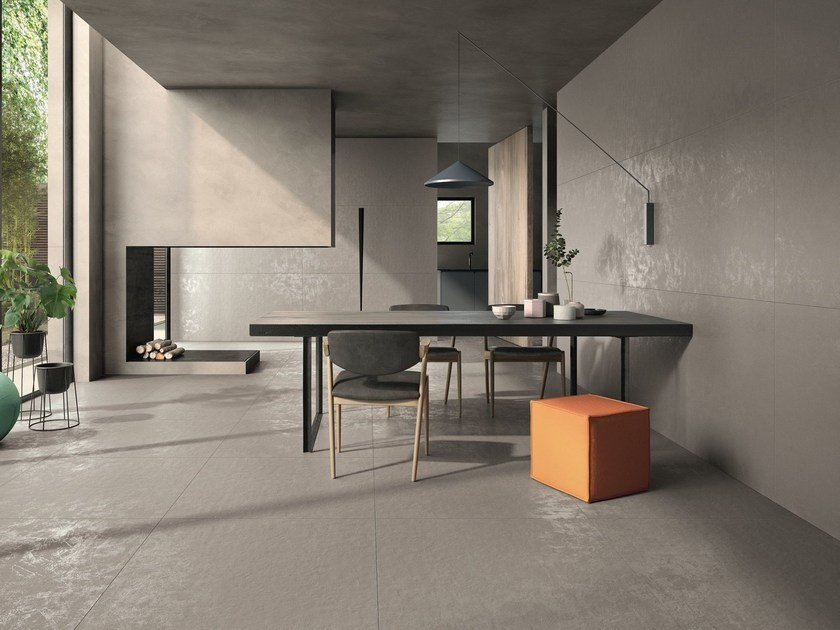 Indoor/outdoor porcelain stoneware wall/floor tiles with resin effect RESINA by Casalgrande Padana