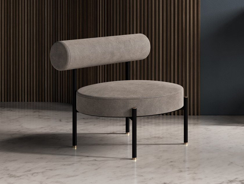 Poltroncina imbottita in velluto REST LOUNGE CHAIR by Ex.t
