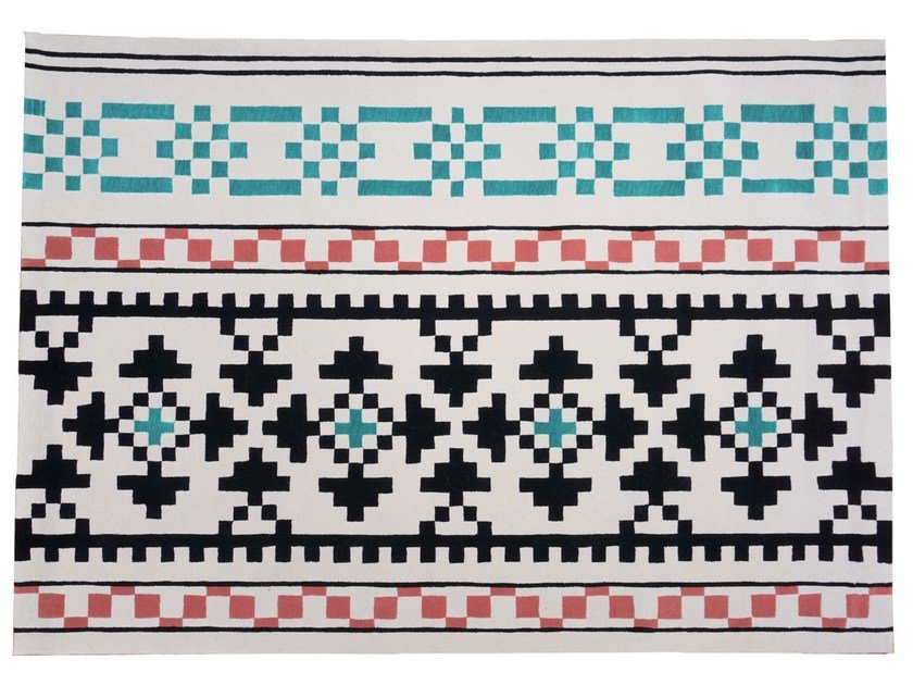 Handmade rectangular wool rug with geometric shapes RESTLESS by Dare to Rug
