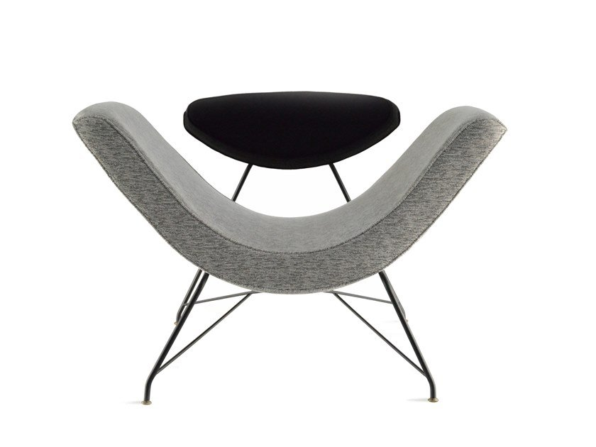 Upholstered fabric easy chair with armrests REVERSIVEL by Tacchini