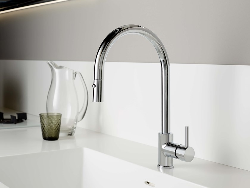 Single handle kitchen mixer tap with pull out spray REVERSO   Kitchen mixer tap with pull out spray by RITMONIO