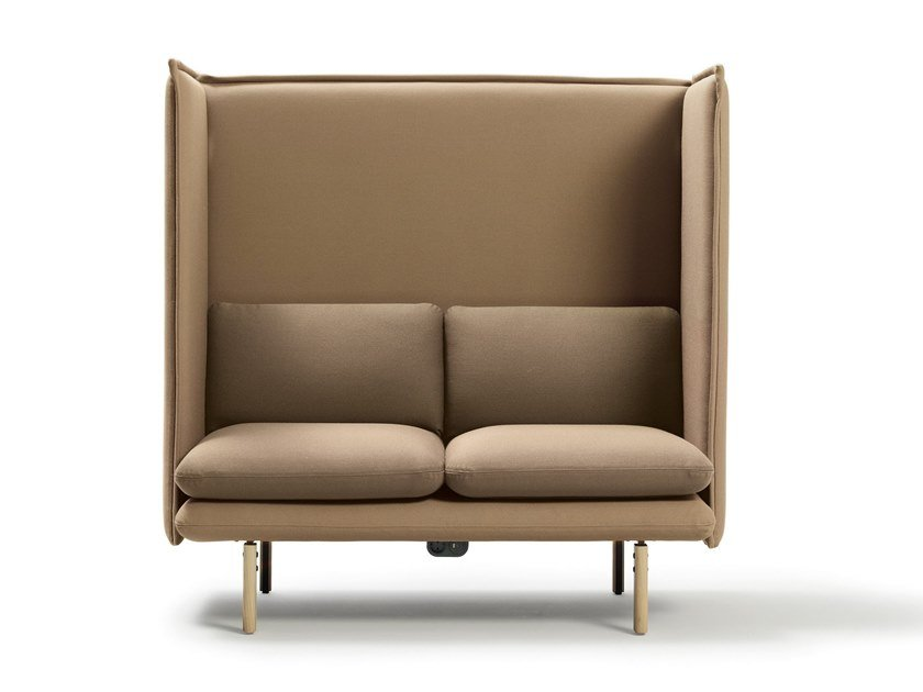 High-back fabric small sofa with socket REW | Small sofa by Sancal