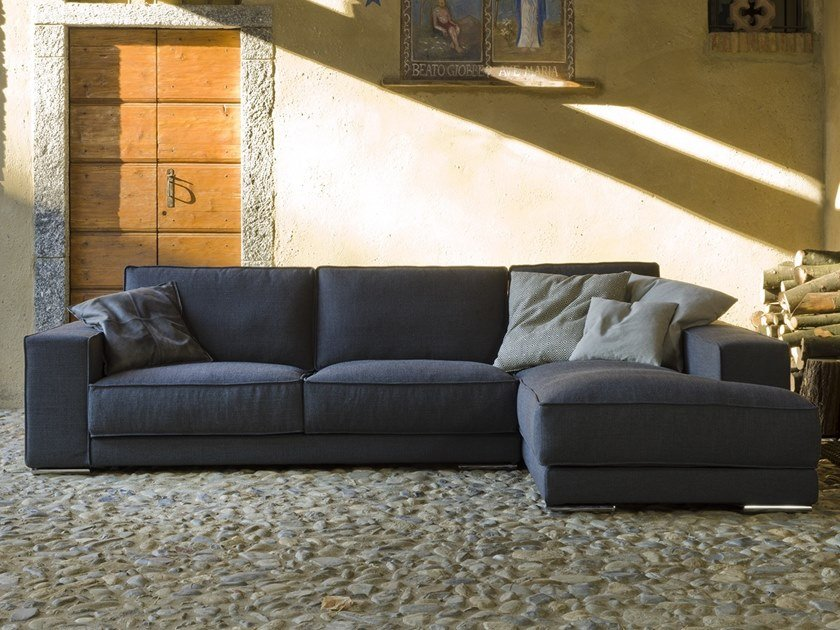 Sectional fabric sofa with chaise longue REX PIZZICATO by Flexstyle