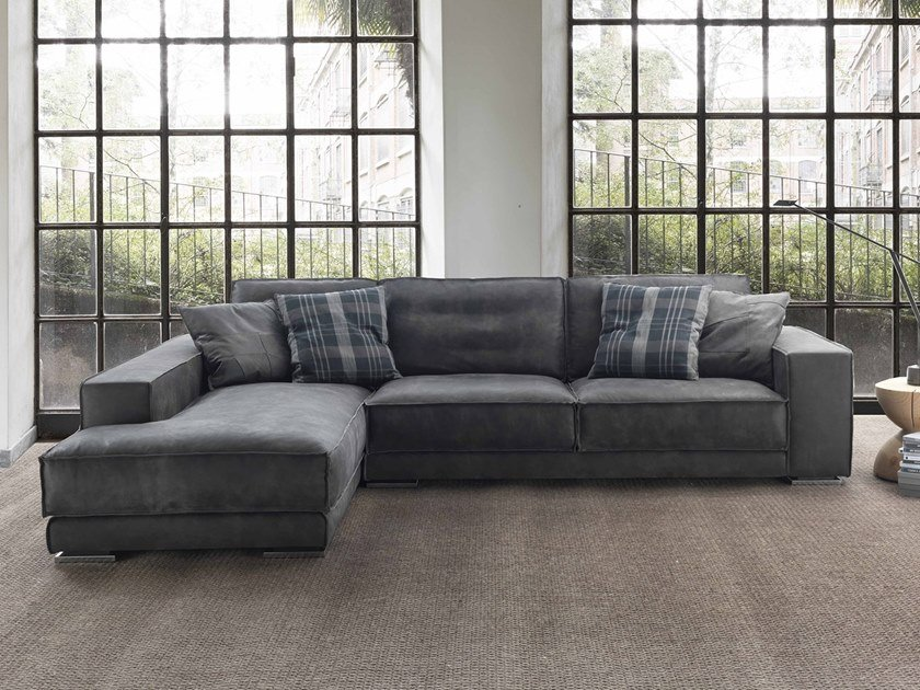 Sectional leather sofa with chaise longue REX TAGLIO VIVO by Flexstyle