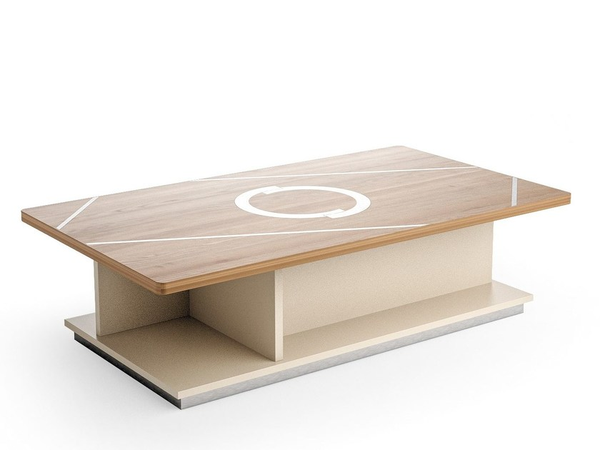 Contemporary style low wooden coffee table with storage space for living room RHOMBUS | Rectangular coffee table by Caroti