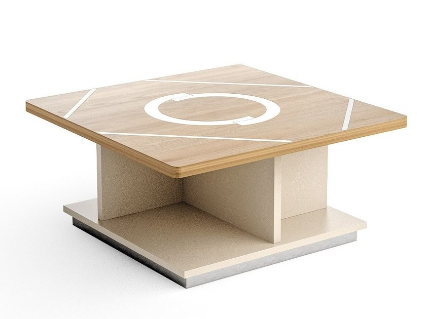 Contemporary style low wooden coffee table with integrated magazine rack with storage space RHOMBUS | Square coffee table by Caroti