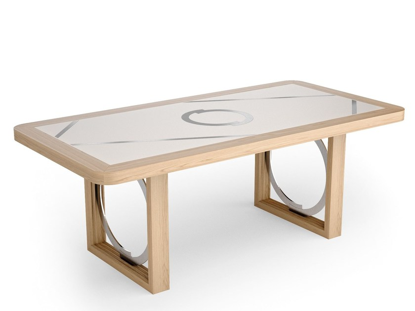 Rectangular wood and glass dining table RHOMBUS | Wooden table by Caroti