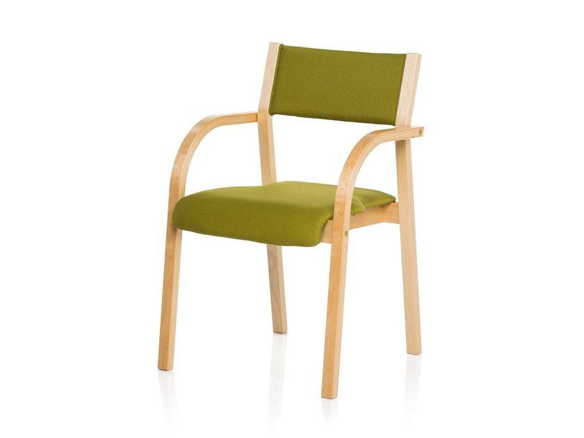 Upholstered chair with armrests RHYTHM by RIGA CHAIR
