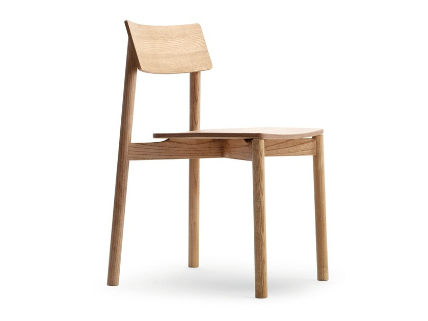 Stackable ash chair RIB 11/L by Very Wood