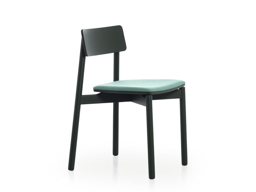Stackable chair with integrated cushion RIB 11 by Very Wood