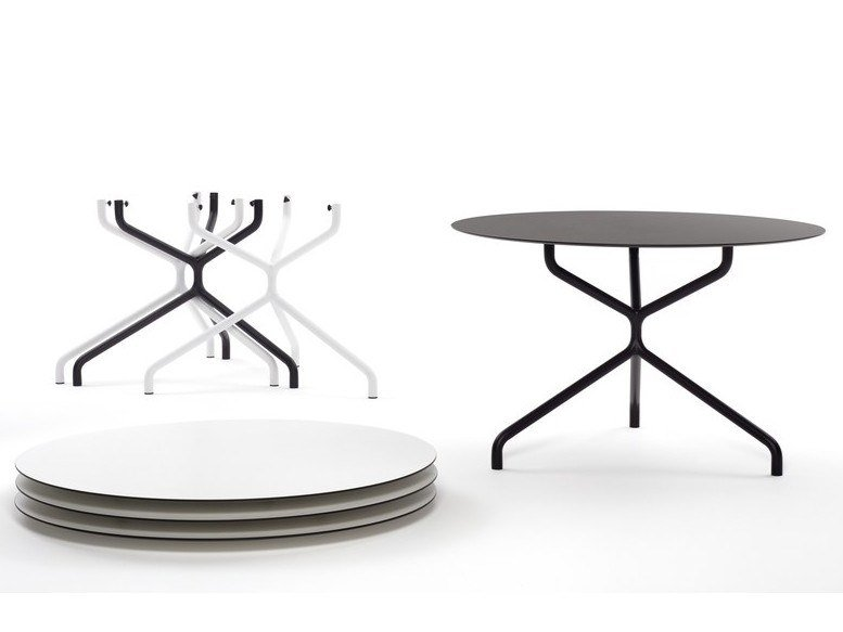 Stackable round drop-leaf table RIBALTONE by Urbantime