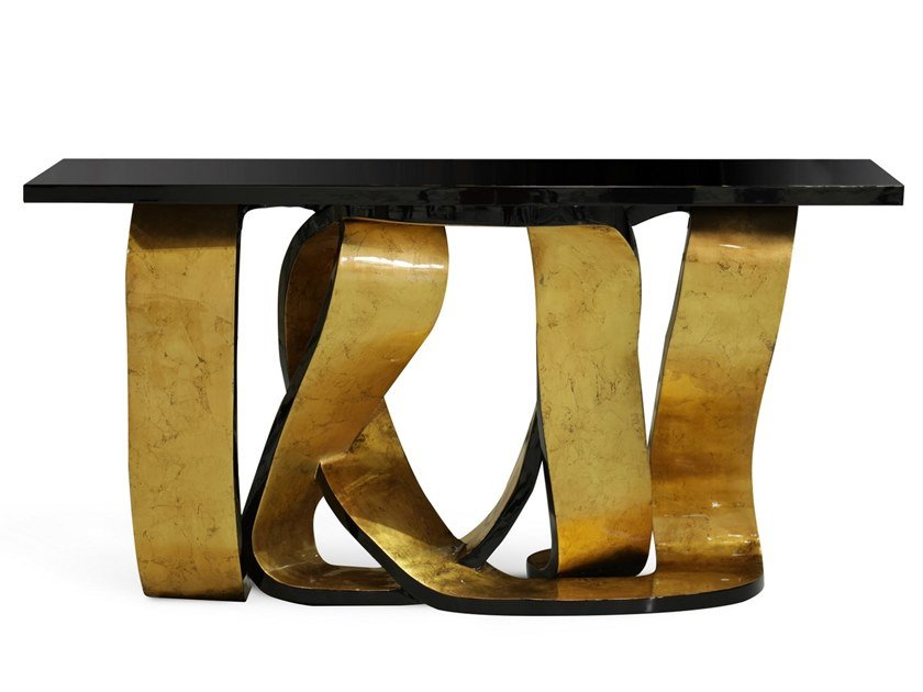 Lacquered rectangular console table RIBBON by KOKET