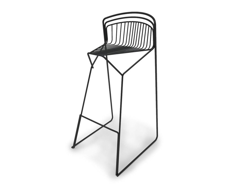 High sled base steel stool with back RIBELLE | High stool by Luxy