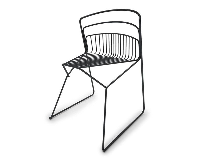 Sled base steel chair RIBELLE   Sled base chair by Luxy