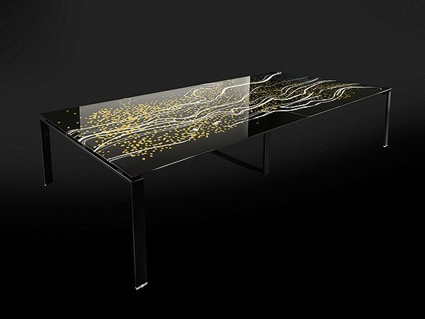 Tempered glass table RIFLESSI by Unica by Tecnotelai