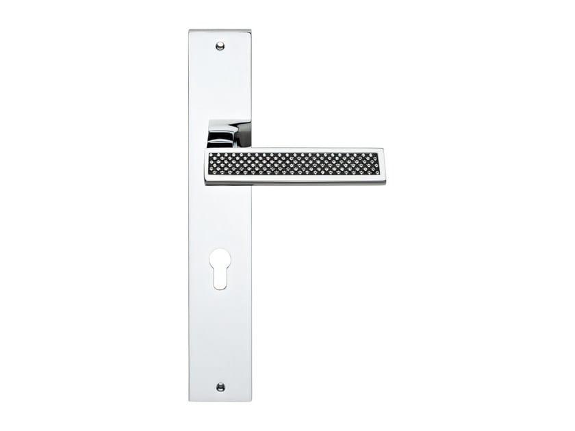 Door handle with Swarovski® Crystals on back plate RIFLESSO BLACK | Door handle on back plate by LINEA CALI'