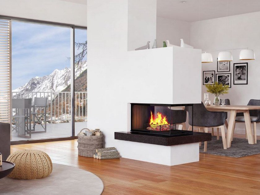 wood burning 3 sided steel fireplace riii by r egg rh archiproducts com 3 sided inset wood burning stove 3 sided glass wood burning stove
