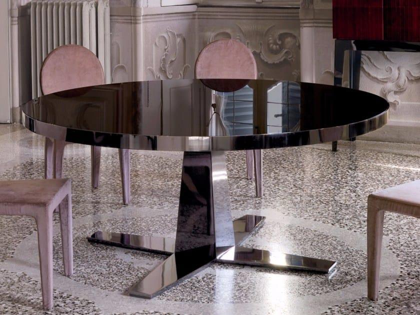 Tavolo da pranzo rotondo in vetro RIM | Tavolo in vetro by Longhi