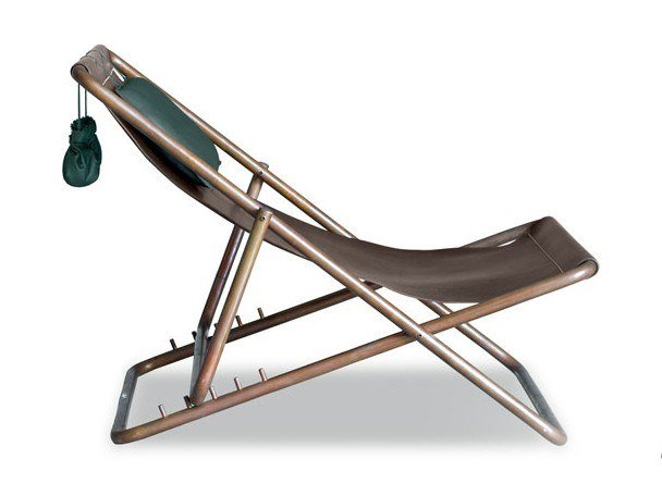 Folding leather deck chair RIMINI | Deck chair by BAXTER