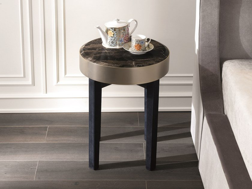 Round marble bedside table with drawers RING | Bedside table by Longhi