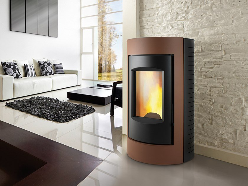 Pellet Class A+ wall-mounted steel stove RING XW | Pellet stove by CAMINETTI MONTEGRAPPA