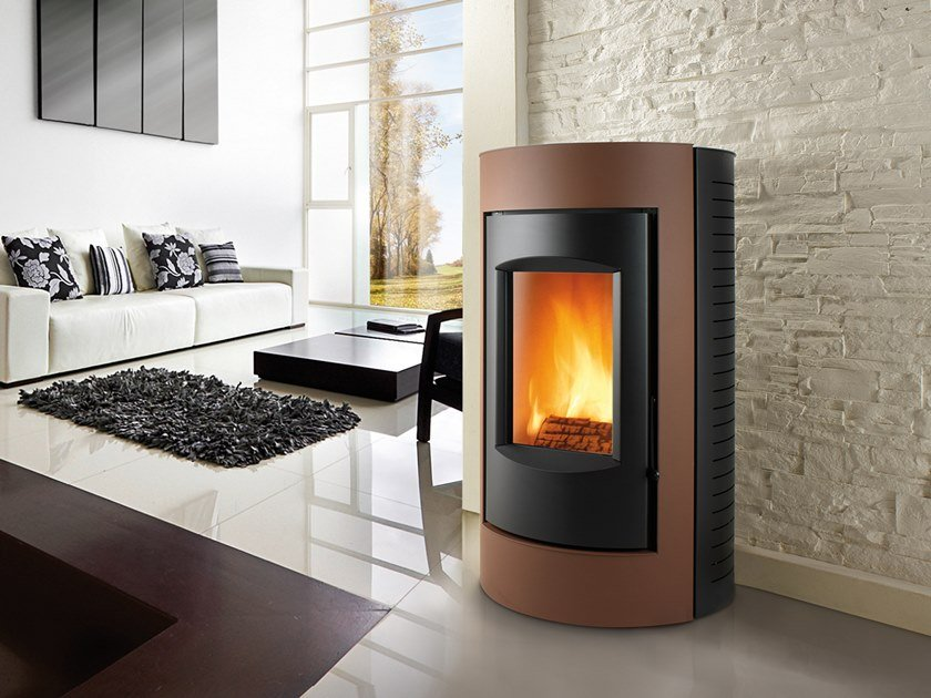 Wood-burning Class A wall-mounted steel stove RING XW | Wood-burning stove by CAMINETTI MONTEGRAPPA