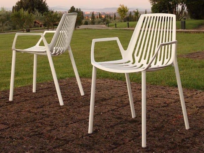 Fast Sedie Da Giardino.Sedia Da Giardino Impilabile In Alluminio Con Braccioli Rion