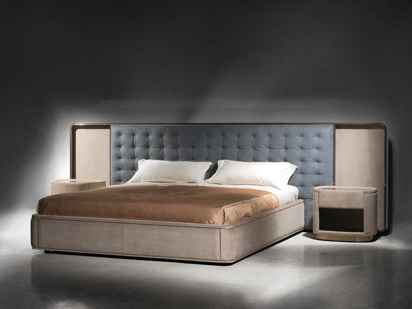 Upholstered fabric bed with tufted headboard RIPLEY by Visionnaire