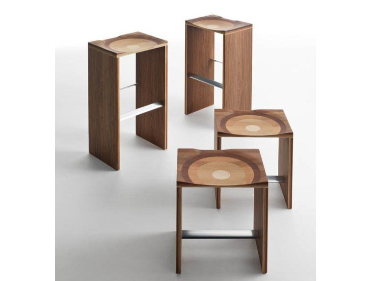 Solid wood stool RIPPLES   Stool by Casamania & Horm
